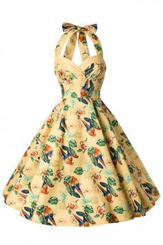 Bunny - 50s Retro Halter Sassy Tropical Parot Dress in Yellow