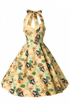 Bunny - 50s Retro Halter Sassy Tropical Parot Dress in Yellow