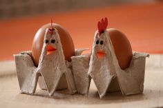 Egg cartons cut up to hold a single egg and designed like hens! So cute!