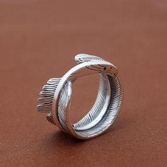 Men's Sterling Silver Eagle Beak Feather Wrap Ring