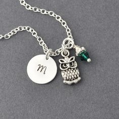 Initial Necklace Silver owl Charm Personalized by Jewelmint, $18.00