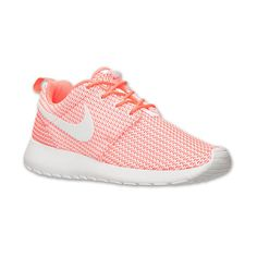 Nike Women's Roshe One Casual Shoes, Orange Pink ($75) ❤ liked on Polyvore featuring shoes, sneakers, nike, light weight running shoes, mesh shoes, lightweight shoes, nike athletic shoes and waffle shoes