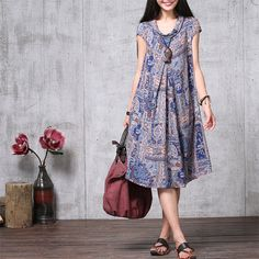 Casual Loose Fitting Short Sleeved Cotton Long Dress от deboy2000