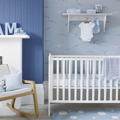 Permanent Link to : Fresh and Calm Blue Baby Room Decorating with White Furniture Design