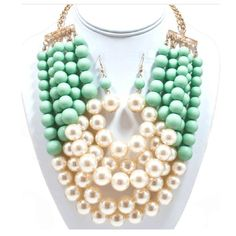 "- Mint with pearl layered necklace set , 22"" length"