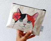 Cat Pouch, Zipper Pouch , Calico Cat with Flower , cosmetic bag/ pencil case/ crazy cat lady