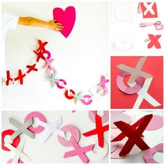 """GORGEOUS Valentines Day Garland - Hugs & Kisses - a lovely take on the traditional """"paper chain"""". Would look AMAZING at a Wedding or Anniversary party too!!!"""