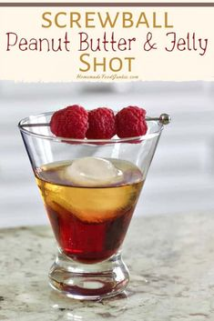 A tasty mix of Screwball peanut butter whiskey with Chambord and PB&J create this cocktail. Slightly sweet with a rich peanut butter flavor give this classic combo a grown up kick. Whiskey Recipes, Alcohol Drink Recipes, Whiskey Shots, Whiskey Cocktails, Jameson Drinks, Fun Drinks, Yummy Drinks, Alcoholic Drinks, Party Drinks