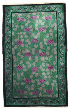 Green rectangle antique art deco Chinese rug 2.11' x 4.10' ( 94cm x 152cm ) 1920 #Chinese