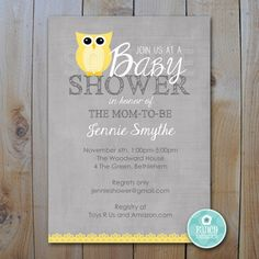 Printable Owl Baby Shower / EDITABLE by FancyShmancyNotes on Etsy