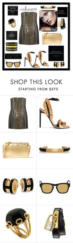 """""""Glamour never takes a day off"""" by zabead ❤ liked on Polyvore featuring Balmain, Yves Saint Laurent, Nancy Gonzalez, Vigo, Tt Collection, Gucci, Valentin Magro, Hermès and Ashley Pittman"""