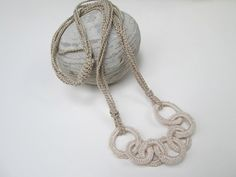 Minimalist Linen and Natural Color Crochet Necklace by EssentialCrochet, $28.00