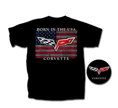 """Corvette T-Shirt - """"Born In The USA"""" w/ C6 Crossed Flags : Black (X-Large). Corvette T-Shirt - """"Born In The USA"""" w/ C6 Crossed Flags: Black. NOTE: West Coast Corvette/Camaro is the only seller on this listing that can guarantee licensed products. Buying from other suppliers will result in an unlicensed, low quality replica. 100% Heavy Weight Cotton."""