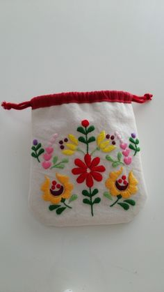 drawstring pouch with folk embroidery