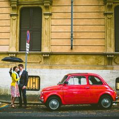 A colorful engagement session in Rome, Italy prior to the couple's destination wedding. Photography by Carolyn Scott Photography.