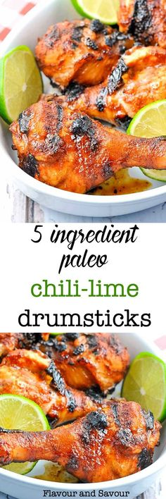 Quick and easy: chili, lime, garlic, honey. Keep it simple, but make it delicious! These 5-Ingredient Chili Lime Drumsticks make a quick and easy weeknight meal served with a salad. This recipe uses ingredients that you'll have on hand. #easy #chili-lime #chicken #drumsticks