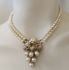 MIRIAM HASKELL Style Vintage Baroque Pearl Bead Bridal Pendant Necklace