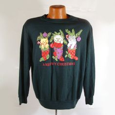 Ugly Christmas Sweater Vintage Sweatshirt by purevintageclothing Meowy Christmas