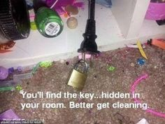 "Get kids to clean up their rooms. Lock up the plug. ""you'll find the key...hidden in your room. Better get cleaning."""