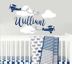 Boy Name Wall Decals Nursery Airplane Wall Sticker Nursery Vinyl Biplane Baby Boy Nursery Decor Plan