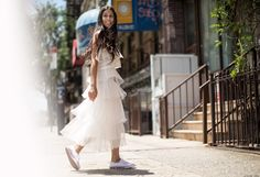 Anahita on the Coveteur in Vans and ruffles Vans Style, Summer Essentials, Fashion Story, White Fashion, Feminine Style, Ruffles, Summer Outfits, White Dress, Photoshoot