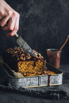 BewarenVegan Pumpkin Bread with Chocolate and Walnuts (GF) A guilt-free fall dessert, all vegan and gluten-free, loaded with nutritious pumpkin and turmeric.