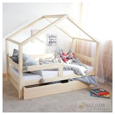 MILO Pull-out bed with drawer - With or without gates - hut bed Baby Bedroom, Baby Room Decor, Girls Bedroom, Bedroom Decor, House Beds For Kids, Kid Beds, Kids Room Design, Bed Design, Big Girl Rooms