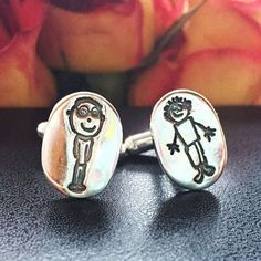 Childrens Drawing Cufflinks Your Childs Actual by AmyRingJewellery