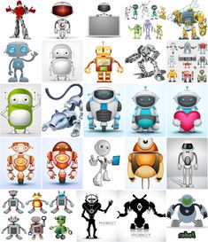 Cartoon Robots templstes vectors