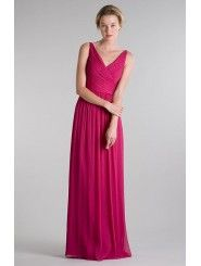Crinkle Chiffon V-neck Criss-cross Bodice A-line Bridesmaid Dress