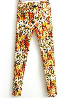 Yellow Slim Floral Casual Pant EUR€16.97