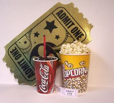Fake food drive in popcorn coke and admit 1 sign by FAUXFOODDINER