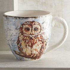 Depicting a tawny owl, our artful mug is a real hoot. Wisely crafted of glazed ironstone, it's microwaveable, dishwasher-safe and altogether practical. Perfect for your late-night drinks. After all, owls are nocturnal.