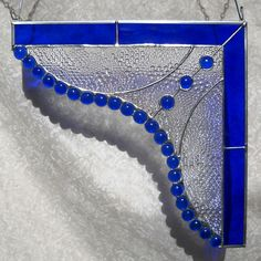 Cobalt Blue Curtain Pair of Corner Pieces Gingerbread Trim Room Dividers in Stained Glass. $99.95, via Etsy.