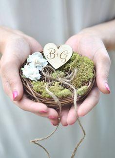 Personalized Rustic wedding ring bearer by BellaBrideCreations Wedding Birds, Woodland Wedding, Rustic Wedding Rings, Boho Headpiece, Mauve Wedding, Ring Pillows, Ring Pillow Wedding, Wedding Trends, Wedding Ideas