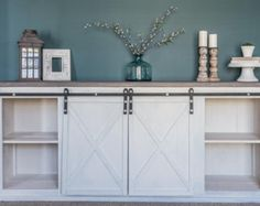 Rustic Sliding Barn Door Console by TheBlessedFarmhouse on Etsy