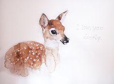 Watercolor Deer by zikarra, via Flickr