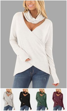 Crossed Front & Cutout Design Roll Neck T-shirt