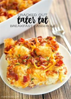 Cracked Out Tater Tot Breakfast Casserole - great make ahead recipe! Only 6 ingredients! Tater Tot Breakfast Casserole, Breakfast Dishes, Breakfast Recipes, Breakfast Ideas, Casserole Kitchen, Breakfast Enchiladas, Breakfast Bake, Health Breakfast, Brunch Recipes