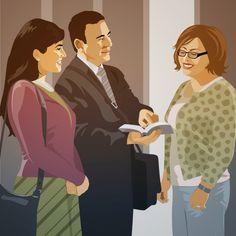Deux Témoins de Jéhovah prêchent la bonne nouvelle à une femme