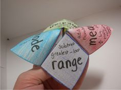 """Teach Junkie: 17 Quick Cootie Catcher Printables and Lesson Plan Ideas  [Note:  I am still trying to understand how to use these in class ... if they pick """"range"""" do they need to find the range of a set of numbers?]"""