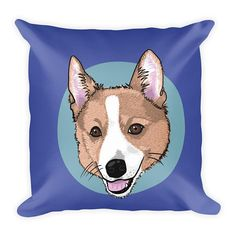 Adorable Corgi on a throw pillow, original illustration by Ria MH. you have to check how the back of the pillow looks!