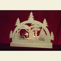 Candle Arches Fret Saw Work Mini LED ight-Arch Lumberjack - 23x15x4,5 cm / 9x6x2 inches