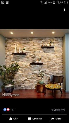 Create a Faux Stone Accent Wall - Cover a wall with stone veneer and transform a room! You can transform any room with a stunning stone accent wall like this. Faux Stone Walls, Stone Accent Walls, Faux Brick, Kitchen Accent Walls, Faux Stone Wall Panels, Faux Stone Sheets, Wooden Accent Wall, Tile Accent Wall, Wall Accents