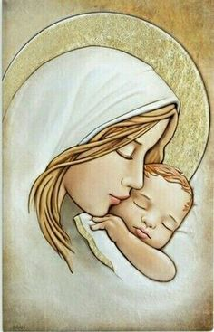 Sweet Mary and Jesus Blessed Mother Mary, Blessed Virgin Mary, Catholic Art, Religious Art, Art Sketches, Art Drawings, Immaculée Conception, Mother Art, Mama Mary