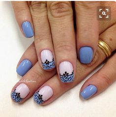 Blue lace nail art