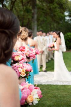 Hilton Head Weddings - Port Royal Golf Club - Scobey Photography - blue - pink peonies