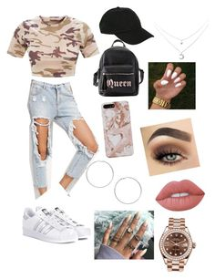 """""""Untitled #28"""" by beeneyhead on Polyvore featuring adidas Originals, Charlotte Russe, Hot Topic, Miss Selfridge, Lime Crime and Rolex"""