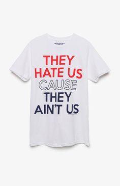 0b57bdbc89 NEW WORLD They Hate Us T-Shirt - Mens Tee - White