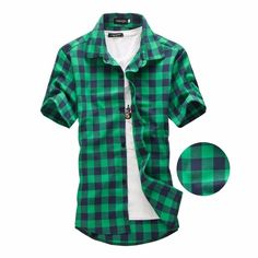 Green Plaid Shirt Men Shirts 2019 New Summer Fashion Chemise Homme Mens Checkered Shirts Short Sleeve Shirt Men Blouse - Eagle Arrows Black Plaid Shirt, Red And Black Plaid, Plaid Shorts, Navy And Green, Chemise Dress, Casual Shirts, Men Shirts, Shirt Men, Plaid Fashion